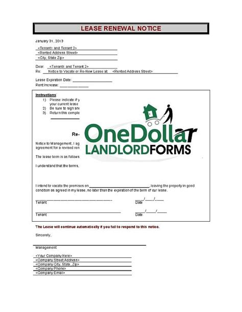 Lease Renewal Notice C01 Lease Renewal Notice Onedollarlandlordforms Rental Lease Agreement Month To Month