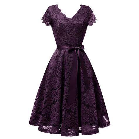 amazing womens lace bridesmaid dress fit  flare cap sleeve party cocktail dresses  bb