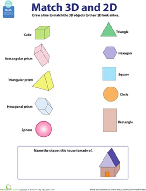Three Dimensional Shapes Worksheets For Grade by 2d And 3d Shapes Worksheet Education