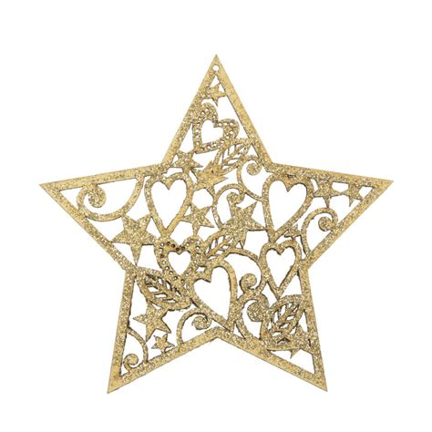 gold glitter wooden heart or star christmas decoration by