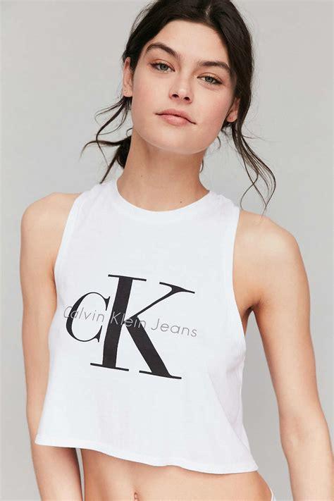 Calvin Klein lyst calvin klein cropped tank top in white