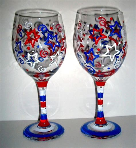 Dollar Wine Glasses Handpainted Wine Glasses Happy Forth Of July Patriotic