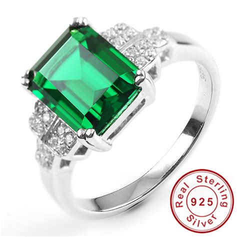 2014 new fashion 3ct genuine nano russian emerald ring 925
