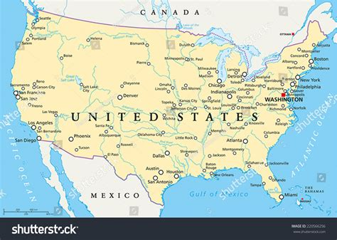 united states of america capitals map united states america political map capital stock vector