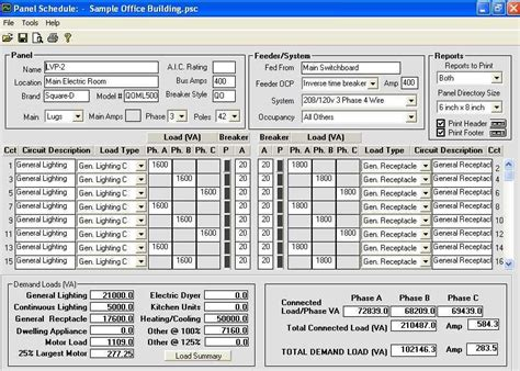 electrical load schedule template electrical panel schedule template software