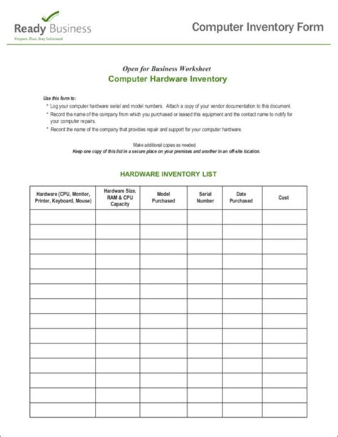 computer checklist template 16 inventory checklist sles templates free sles