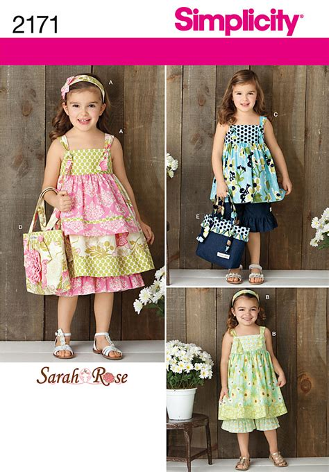 pattern dress child simplicity 2171 child s dress top pants bag and hair