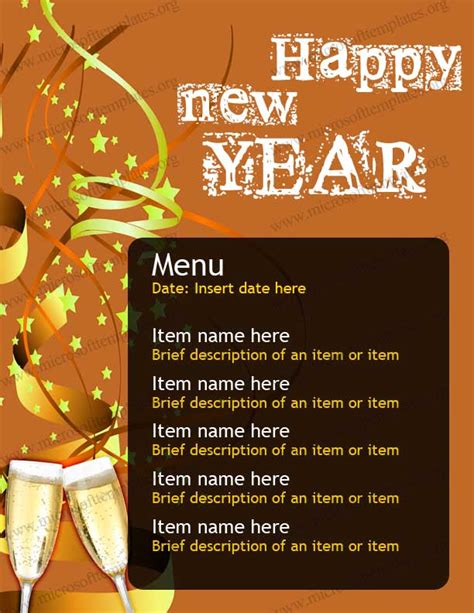 new year menu design new year menu template free menu templates ms