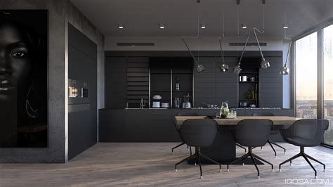 all black kitchen inspiring exles of use of grey in luxury interior design