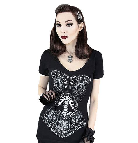 tattoo girl clothing uk skeleton corset womens v neck top by restyle clothing
