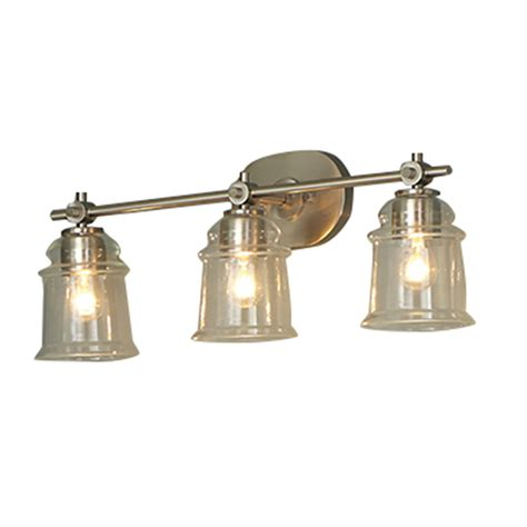 Lowes Bathroom Light Fixtures Brushed Nickel Shop Allen Roth Winbrell 3 Light Brushed Nickel Bell Vanity Light At Lowes