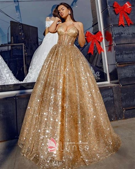Wedding Gown Gold Premium Series dazzling beading brown gold v neck spaghetti straps luxury prom gown lunss couture