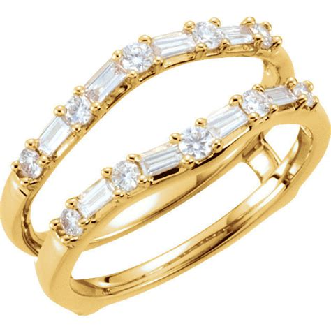 baguette 1 2c diamonds ring guard wrap solitaire