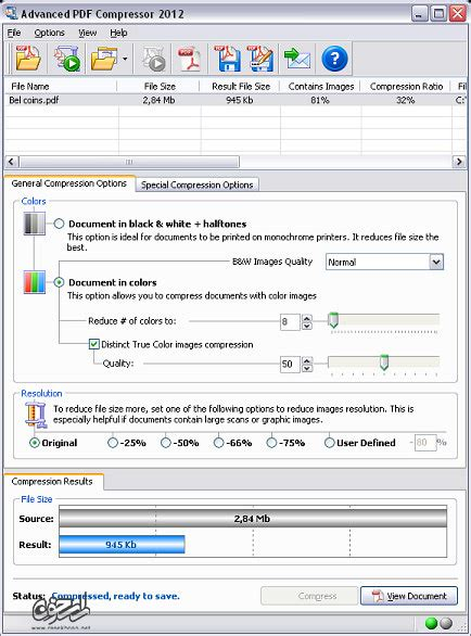 compress pdf v1 6 کاهش حجم فایل های پی دی اف با advanced pdf compressor 2012