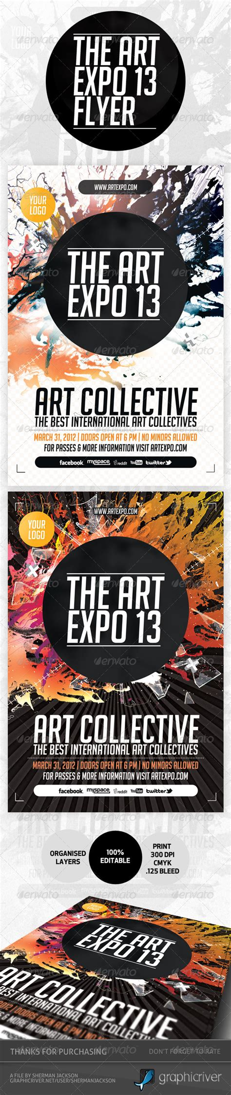 art expo art show event flyer template psd graphicriver