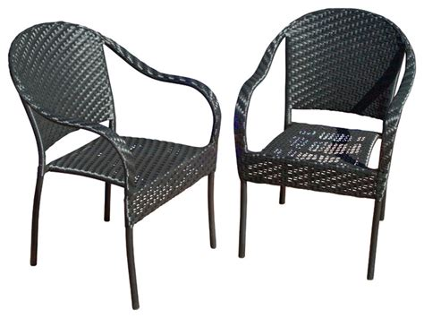 livingston outdoor black wicker chairs set of 2