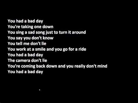 lyrics day is daniel powter bad day lyrics