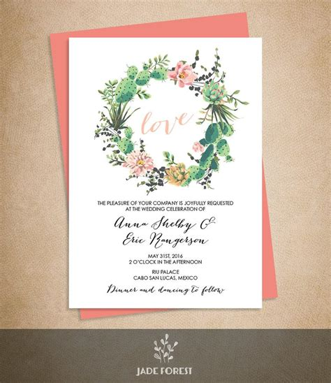 Floral Wedding Invitation Diy Pink Flowers And Cactus | floral wedding invitation diy pink flowers and cactus