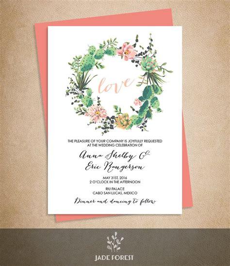printable wedding invitations floral floral wedding invitation diy pink flowers and cactus