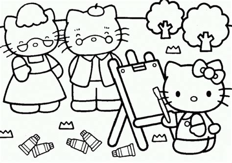 hello kitty painting coloring pages hello kitty painting free coloring page cute pages of