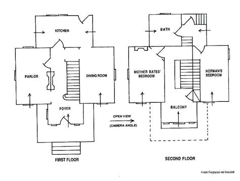 Psycho House Floor Plans | bates motel psycho house floor plans two floor house