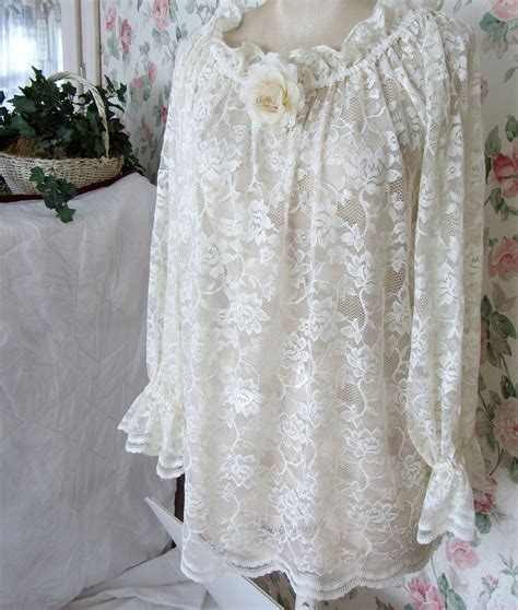 shabby chic clothes peasant top women large ivory lace blouse
