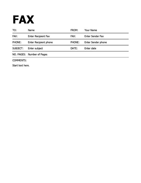 fax template printable fax covers office
