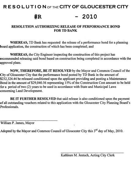 Letter Release Performance Bond resolution authorizing release of td bank performance bond