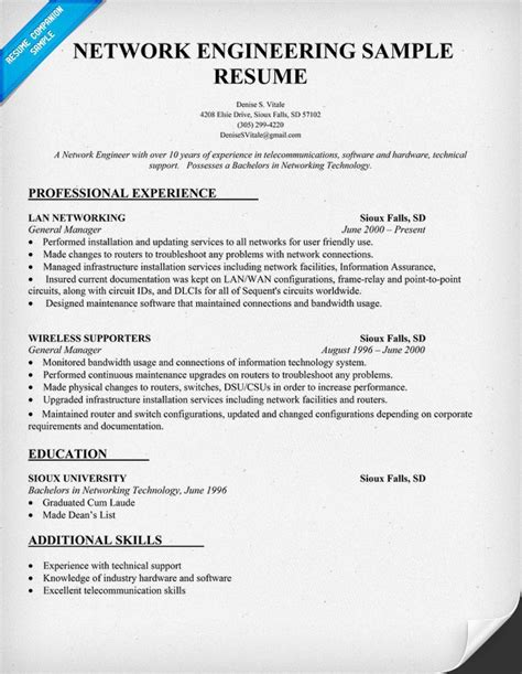 networking experience resume sles network engineering resume sle resume prep