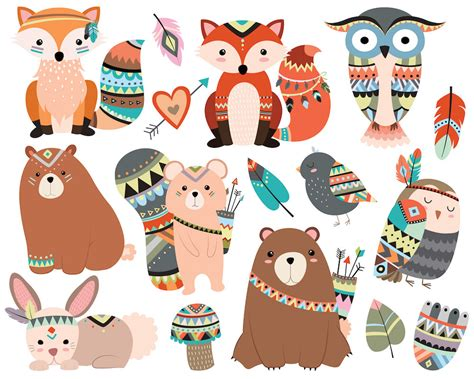 printable animal graphics woodland tribal animals clipart 300 dpi vector png