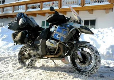 Bmw Of Chaign Bmw Gs Motorcycle With Tire Chains In Snow Http Www