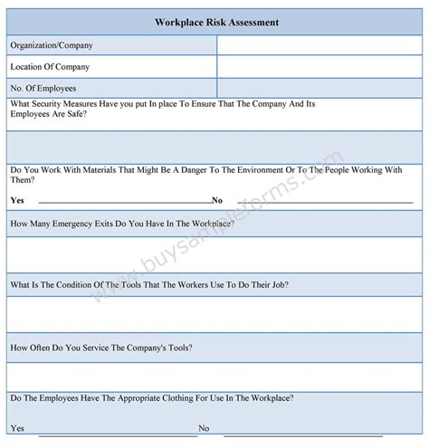 workplace hazard assessment template workplace risk assessment form
