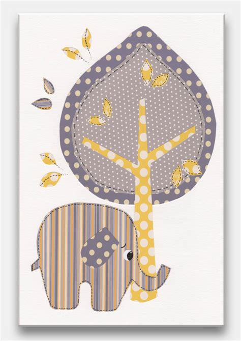 Elephant Ls For Nursery by Items Similar To Gray And Yellow Nursery Wall