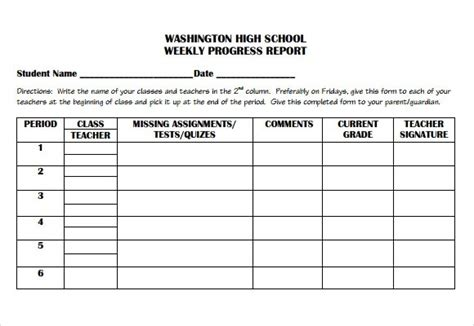 high school progress report template weekly progress report template high school https