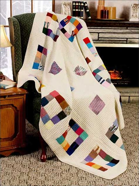 Patchwork Square Afghan - knit a square make an afghan free patterns