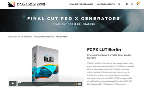 final cut pro lut fcpx plugin creator pixel film studios released fcpx lut