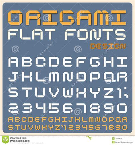Origami Typography - retro type font vintage typography stock vector