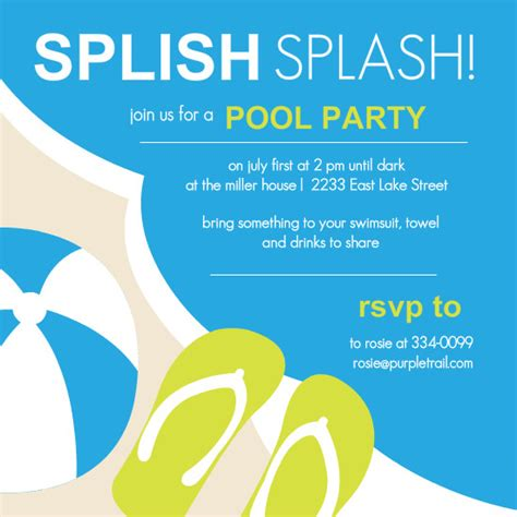 pool party invitations template best template collection