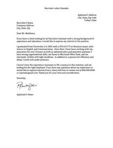 Cover Letter To Recruiter by Sle Cover Letter To Recruiter Resume Cv Cover Letter