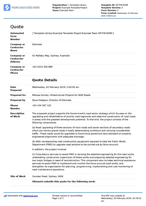 construction quote template word excel