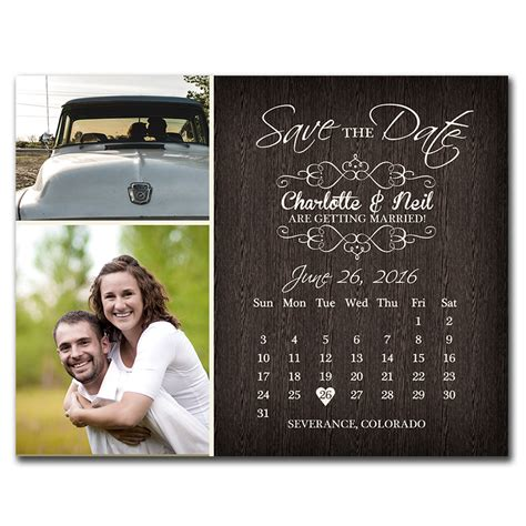 Date At Wedding Shop rustic calendar save the date postcard the print cafe