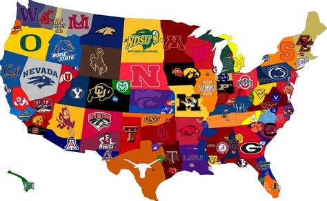 map usa football teams college football fan map of u s a