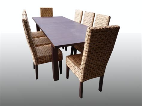 walnut extending dining table 8 rattan wicker chairs ebay