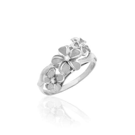 white gold plumeria flower ring