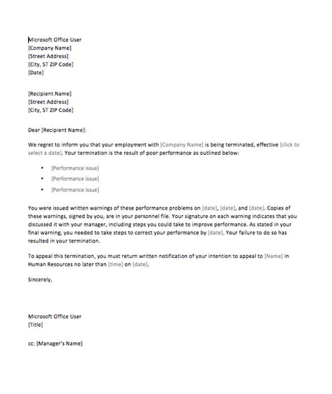 termination letter template attendance sle termination letter for poor performance top form