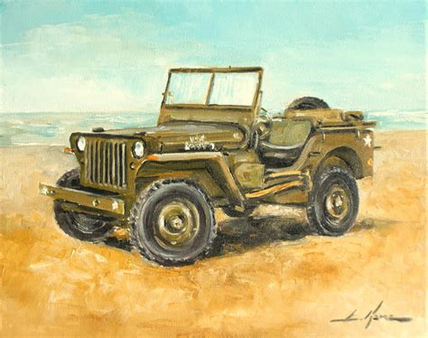 acrylic painting of jeep willys jeep painting by luke karcz