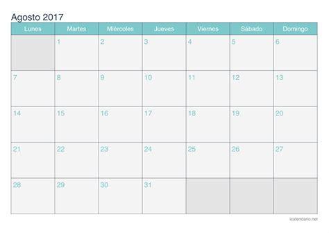 Calendario Mes De Agosto Calendario Agosto 2017 Para Imprimir Icalendario Net