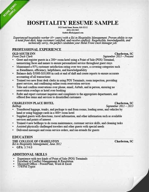 Write Resume Now Use Our Hospitality Resume Sle To Learn How To Write A