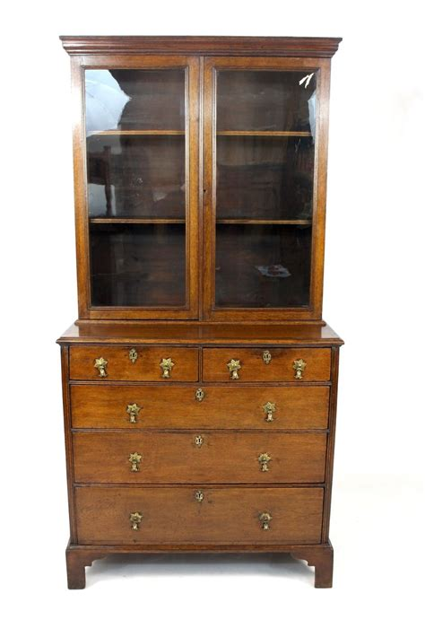 antique georgian oak glazed bookcase display cabinet on