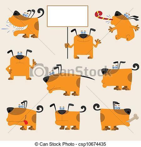 clipart divertenti vettori di divertente cartone animato giallo cani